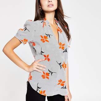 River Island Womens Orange floral V neck shell top