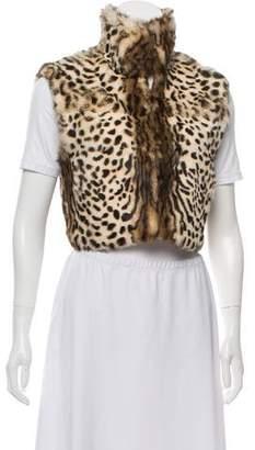Adrienne Landau Animal Print Fur Vest