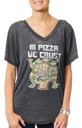 Teenage Mutant Ninja Turtles Women's In Pizza We Crust V-Neck Graphic Burnout T-Shirt