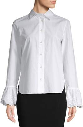 See by Chloe Women's Embroidered-Cuff Button Down Blouse