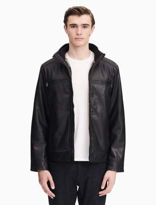 Calvin Klein faux leather sherpa lined zip jacket