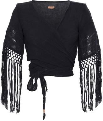 Caravana Luum fringed basketweave cotton wrap top