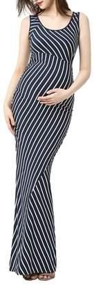 Kimi and Kai Peyton Stripe Maxi Maternity Dress