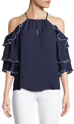 Parker Cindy Cold-Shoulder Ruffled Silk Top