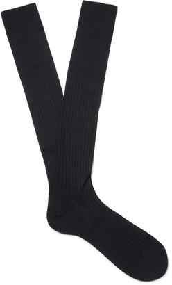 Ermenegildo Zegna Ribbed Cotton Over-the-Calf Socks $25 thestylecure.com