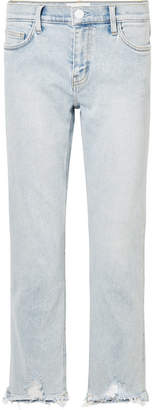 Current/Elliott The Cropped Distressed Mid-rise Straight-leg Jeans - Light denim