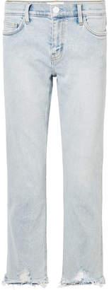 Current/Elliott The Cropped Distressed Mid-rise Straight-leg Jeans - Light denim