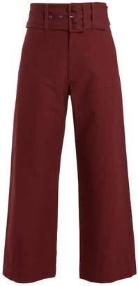 Sea Wide-leg cotton cropped trousers