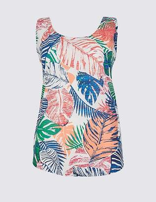 Marks and Spencer Palm Print Round Neck Vest Top