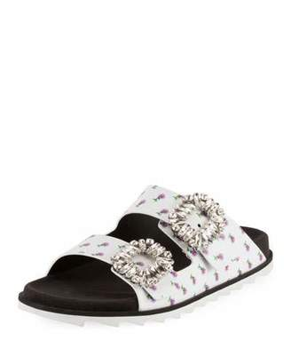 Roger Vivier Slidy Viv Strass-Buckle Two-Band Slide Sandal