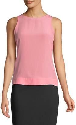 Emporio Armani Sleeveless Round-Neck Silk Shell w/ Belted Back