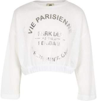 River Island Girls white 'Vie Parisienne' cropped sweater