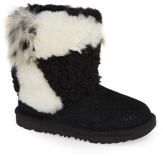 UGG Classic Short Genuine Shearling & Faux Fur Patchwork Boot