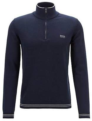 HUGO BOSS Zip-neck cotton-blend sweater with contrast tipping