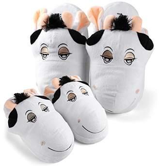 Aerusi Cow Plush Animal Set Mom and Child Combo Slippers