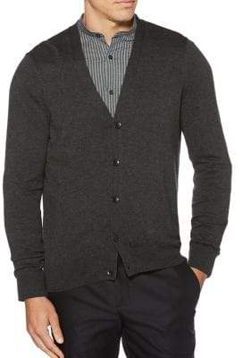 Perry Ellis Heathered V-Neck Button Cardigan
