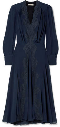 159075423ac5 Chloé Lace-trimmed Silk Crepe De Chine Midi Dress - Navy