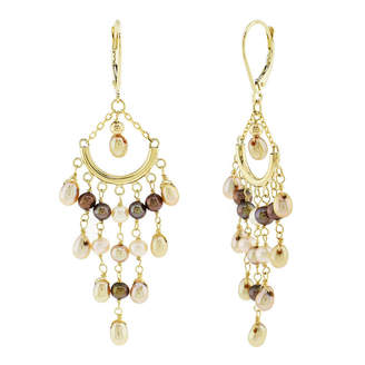 FINE JEWELRY Genuine Champagne Cultured Freshwater Pearl 14K Gold Chandelier Earrings