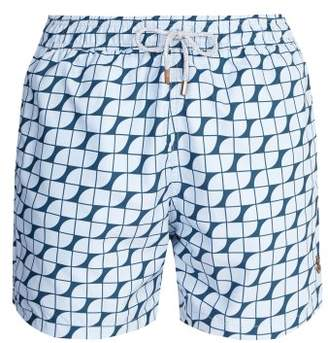 Retromarine - Vintage Tile Print Swim Shorts - Mens - Navy Multi