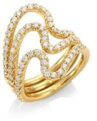 N. Carelle Brushstroke N? 22 Diamond& 18K Yellow Gold Ring Set
