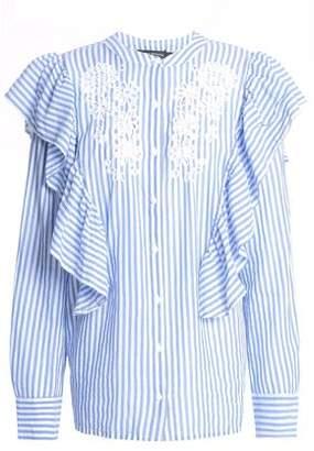 Antik Batik Embroidered Ruffled Striped Cotton-Poplin Shirt