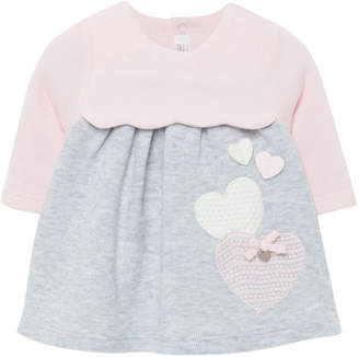 Mayoral Girl's Two-Tone Knit Hearts Dress, Size 2-12 Months