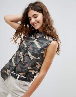 Bershka camo sleeveless shirt in khaki