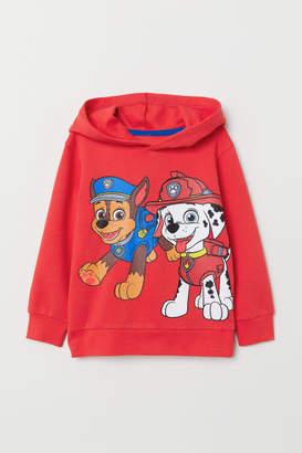H&M Printed Hooded Sweatshirt - Red