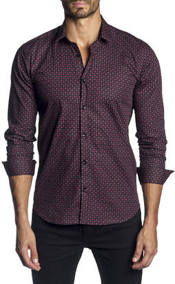 Jared Lang Men's Semi-Fitted Mini-Paisley Long-Sleeve Button-Down Shirt