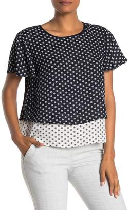 Vince Camuto Diamond Geo Flutter Sleeve T-Shirt