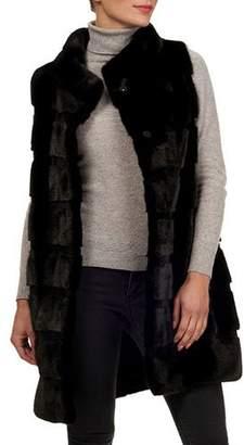 Gorski Reversible Horizontal Mink-Fur Silk-Taffeta Vest