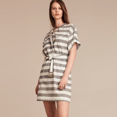 Burberry  Burberry Striped Belted Cotton Dress