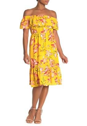 Como Vintage Ruffled Off-the-Shoulder Midi Dress