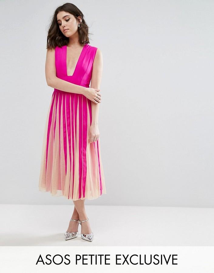AsosASOS Petite ASOS PETITE Mesh Fit and Flare Square Plunge Midi Dress