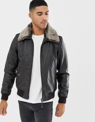 Schott leather flight jacket detachable faux fur collar slim fit in dark brown/black