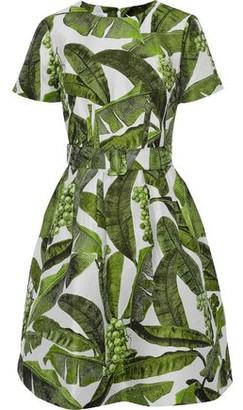 Oscar de la Renta Flared Belted Jacquard Dress