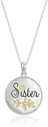 Hallmark Jewelry Sterling Two-Tone Sister Pendant Necklace