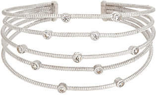 Diamonique Bezel Set Cuff Bracelet, Sterling