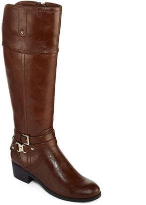 Liz Claiborne Womens Tory Riding Boots Flat Heel Zip Wide Width