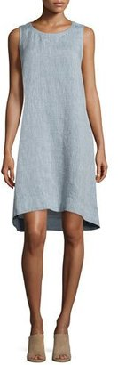 Eileen Fisher Sleeveless Chambray Linen Dress $248 thestylecure.com