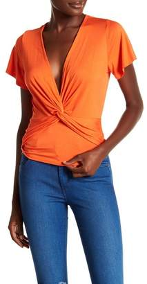 June & Hudson Deep V-Neck Twist Front Tee