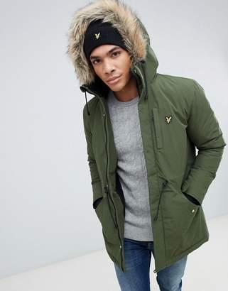 b7514c3573 Lyle   Scott fleece lined hooded parka with faux fur trim in green