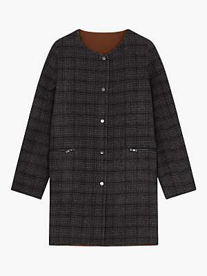 Macy Boat Neck Check Wool Coat, Black