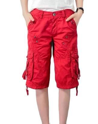 42ca692507 Hajotrawa Women's Rugged Multi Pockets Plus Size Military Cargo Shorts  2X-Large