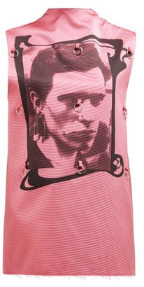 Raf Simons Photographic Print Sleeveless Silk Blend Top - Womens - Pink Multi
