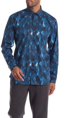 Jared Lang Leaf Patterned Woven Trim Fit Shirt