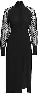 1931515a Balmain Women's Swiss Dot Silk Slit Midi Dress