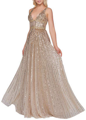 Mac Duggal Horizontal Sequined V-Neck A-Line Gown