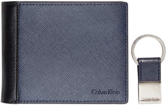 Calvin Klein Saffiano Leather Two-Tone Bifold Wallet & Key Fob $48 thestylecure.com