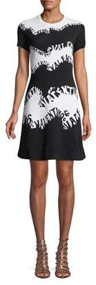 Valentino Waves Stretch-Viscose Jacquard Short-Sleeve A-Line Knit Dress